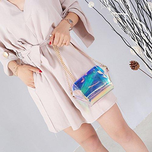 OULII Sacchetto di mano della copertura del sacchetto di spalla del sacchetto di Crossbody del sacchetto di trasparenza del laser di modo per le ragazze delle donne