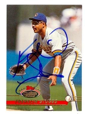 Franklin Stubbs autographed baseball card (Milwaukee Brewers) 1993 Topps Stadium Club No.168