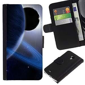 KingStore / Leather Etui en cuir / Samsung Galaxy S4 Mini i9190 / Anillos de Saturn Planeta Azul Sistema Solar Sun extranjero