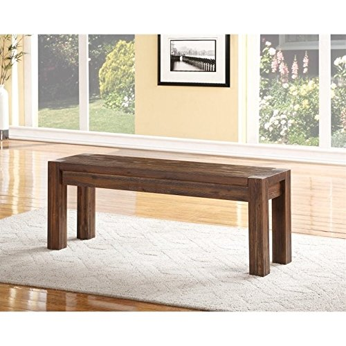 Modus Furniture 3F4191 Meadow Solid Wood Bench, Brick Brown (Acacia Wood Bench)