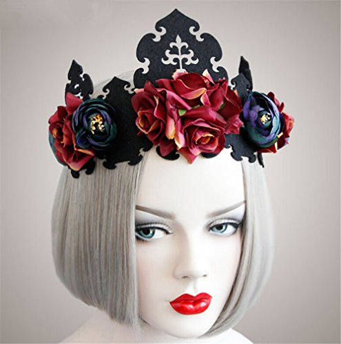 Scary Cown (Pavian personality red rose king crown headband hair band for halloween)