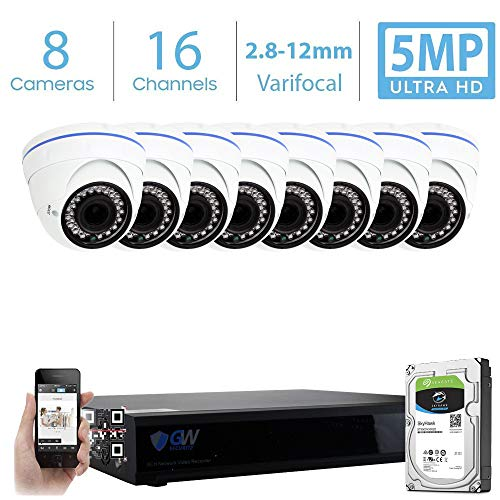 GW 16 Channel 5MP Video Surveillance System, 16CH NVR w/ 2TB HDD (2 SATA, Up to 20TB), 8 PoE IP 5MP Varifocal Zoom Weatherproof Dome Security Camera for 24/7 Recording & Remote Home Monitoring System