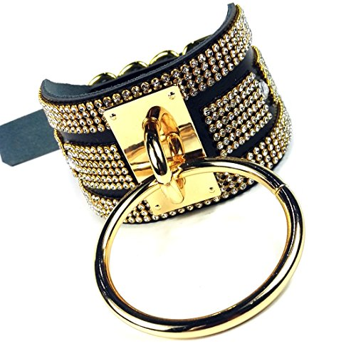 Fetish Chokers (Black Rhinestone Statement Choker Fetish O Ring Leather Collar Diamond Choker Necklace (Black Leather Gold))
