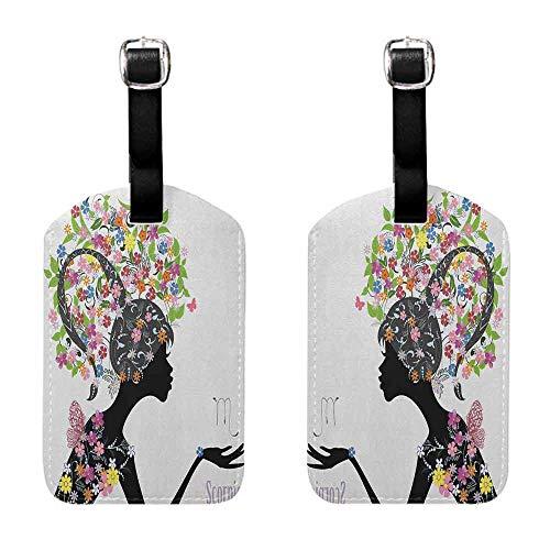 Luggage Tags Holders Zodiac Scorpio,Fashion Girl Silhouette with