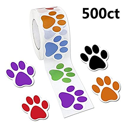 Colorful paw print stickers 1 roll 500 dog paw labels stickers by jpsor 6