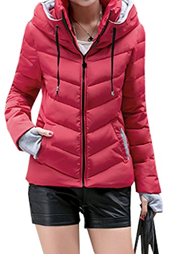 Outwear Thick Parka Rosso Winter Slim Women Coat Hooded Solid Blackmyth Jacket 0xq76TH