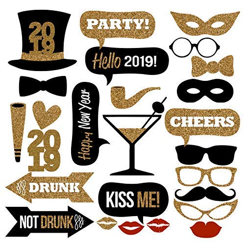 Veewon 2019 New Years Eve Party Photo Booth Props 26pcs DIY Kit Photobooth Prop Card Masks Mustache Hat Red Lips Glasses Decoration