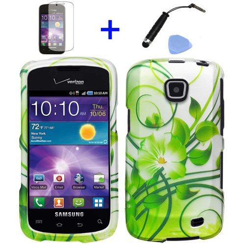 (4 items Combo: ITUFFY (TM) Mini Stylus Pen + LCD Screen Protector Film + Case Opener + Silver Green Vine Hawaiian Flower Design Rubberized Snap on Hard Shell Cover Faceplate Skin Phone Case for Straight Talk Samsung Galaxy Proclaim 720C SCH-S720C / Verizon Samsung Illusion i110)