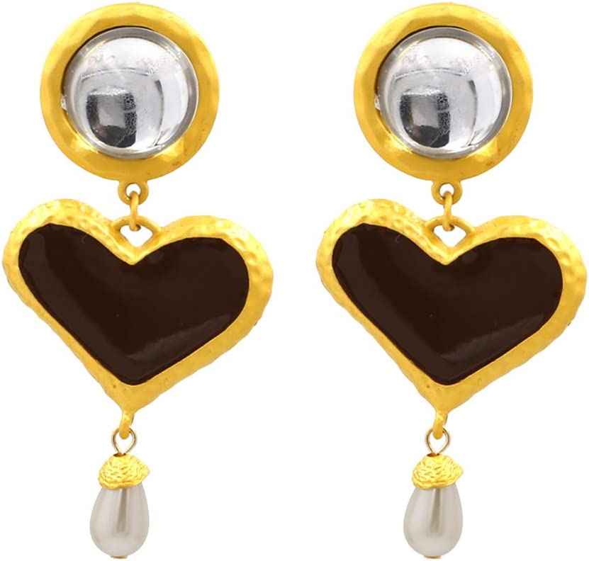 Muzhili3 Bohemia - Pendientes de perlas de imitación esmaltadas con forma de corazón para mujer, color negro gris oscuro