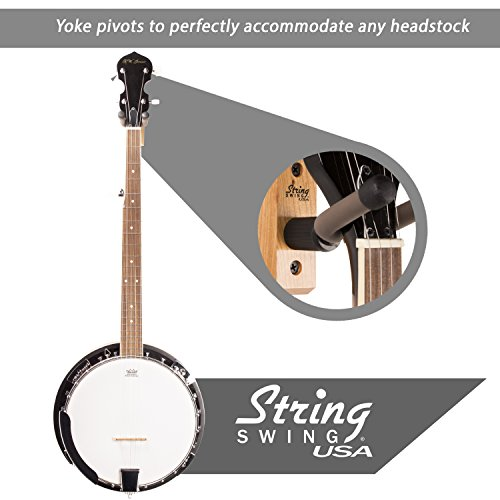 Banjo Hanger Wooden Wall Holder Cherry Hardwood String Swing CC01B-C