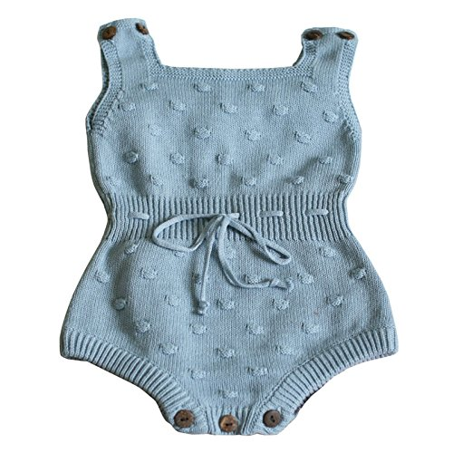 Wennikids Baby Boys and Girls knitting Sweater Crochet Romper Climbing Clothes Large Blue