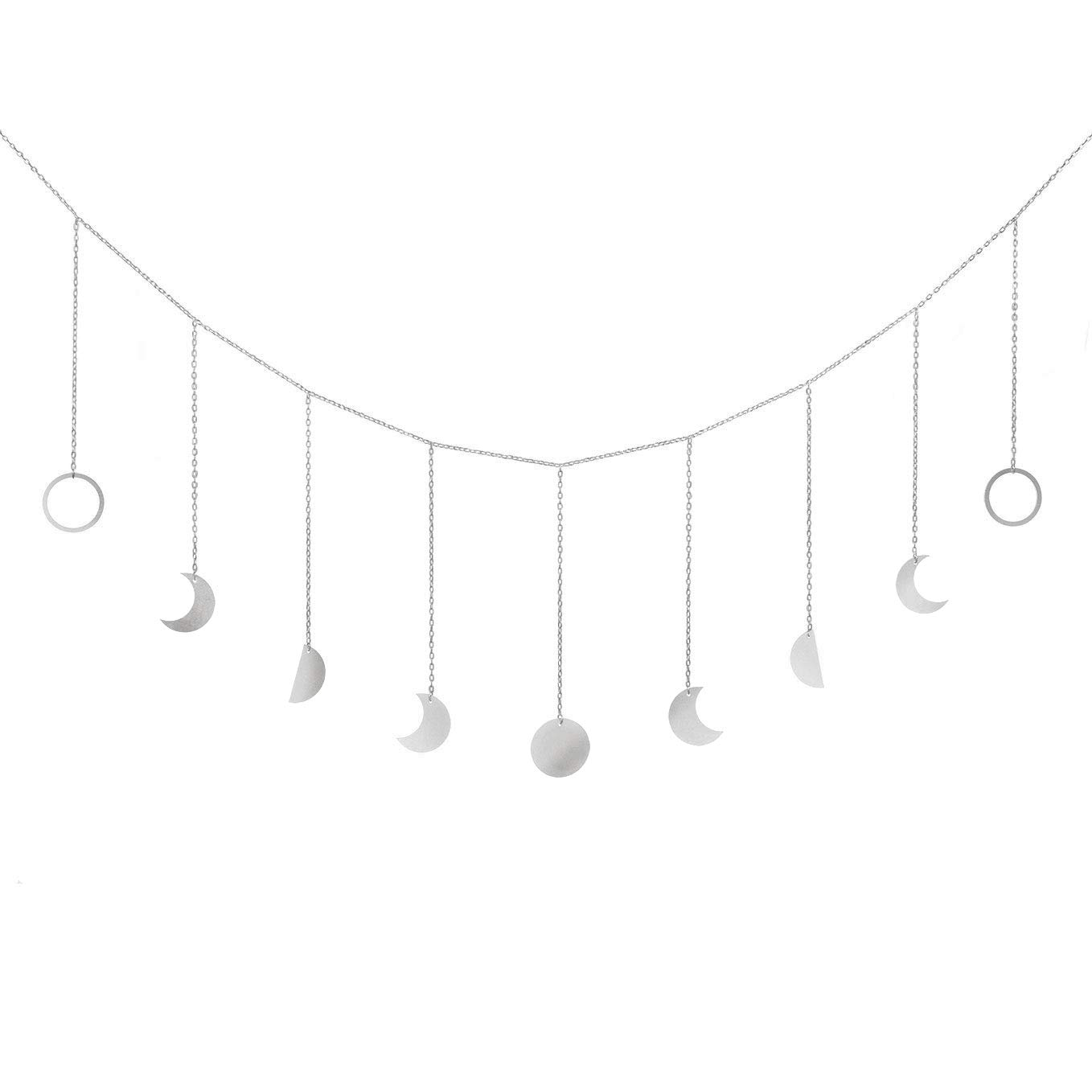 Mkono Moon Phase Garland with Chains Boho Shining