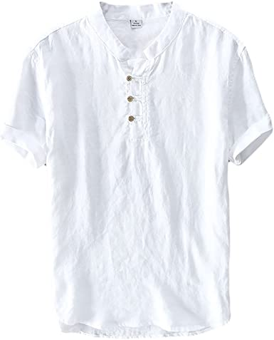 Icegrey Hombre Camisa De Lino De Manga Corta Casual T-Shirt Camisas Henley Camisetas De Lino Casual: Amazon.es: Ropa y accesorios