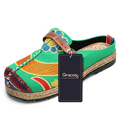 Walking Slip-On, Tezoo Women's Summer Breathable Blackless Walking Shoes, Colorful Sun Flower Series Embroidered Shoes, Outdoor Leisure Garden Clogs, House Slipers, Scandals Green 9