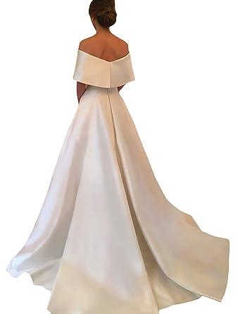 Dymaisei Women\'s Off Shoulder Wedding Dresses 2018 Satin Church ...