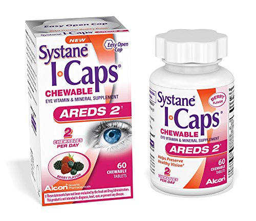 Chewable Vitamin Supplement - Systane ICaps  Eye Vitamin & Mineral Supplement, AREDS 2 Formula, 60 Chewable Tablets