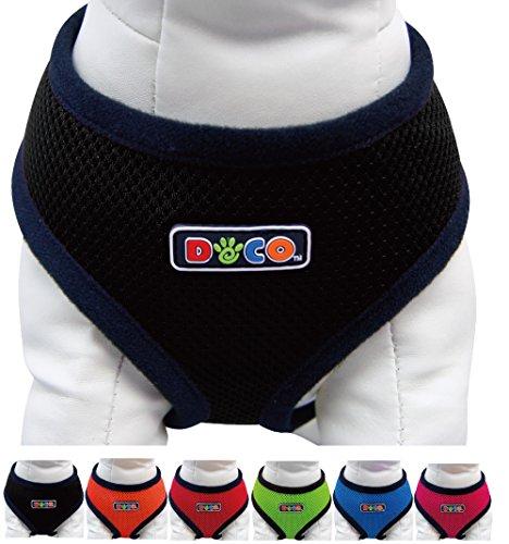 Hunde-Softgeschirr aus Air-Mesh: Brustgeschirr, Laufgeschirr, Führgeschirr, Step-In, verstellbar, Zugentlastung, atmungsaktiv, leicht, gepolstert, luftdurchlässig, weich, soft, stark, stabil, farbig, für große und kleine Hunde - verschiedene Farben und Größen XS, S, M, L (Farbe Schwarz, Größe M - 33 x 41-51 cm)