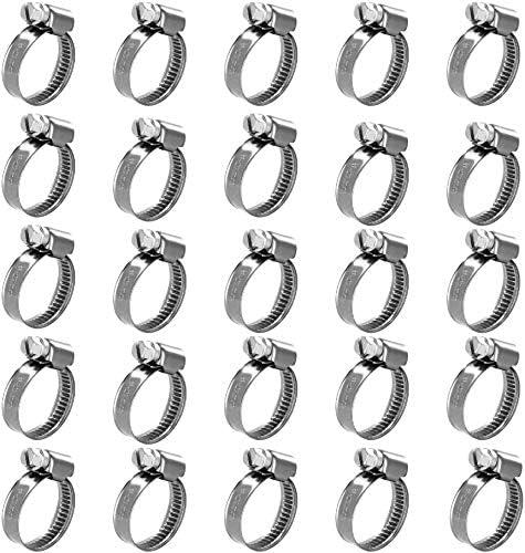 Garsiduro® Profi Schlauchschellen 16-27 mm aus Edelstahl in W4 Qualität, 25 Stück, Bandbreite 9 mm – hochwertiges Set aus rostfreien V2A Schlauchklemmen für Waschmaschine, Spülmaschine, Ablaufschlauch