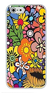 5S Cases, iPhone 5S Protective Case - Hippie Flowers High Quality PC Plastic Slim Lightweight Hard Case Cover for iPhone 5/5s White