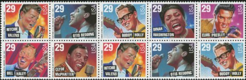 ROCK & ROLL and RHYTHM & BLUES ~ ELVIS PRESLEY ~ BUDDY HOLLY ~ RITCHIE VALENS ~ BILL HALEY ~ DINAH WASHINGTON ~ OTIS REDDING ~ CLYDE MCPHATTER #2730 Block of 10 x 29¢ US Postage Stamps (Holly Stamp)