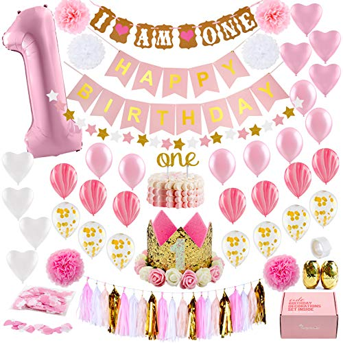 Baby Girl First Birthday Decorations WITH Birthday Crown - 1st Birthday Girl Decorations - Pink and Gold Party Supplies - Number One, Heart and Confetti Balloons, Happy Birthday Banner.