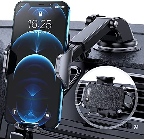 DesertWest Car Phone Holder Mount, [Military Grade] Cell Phone Holder for Car Dashboard Windshield Air Vent Compatible with iPhone SE 11 12 Pro Max X XS XR 8 7, Samsung Galaxy S21 S20 S10+ All Phones