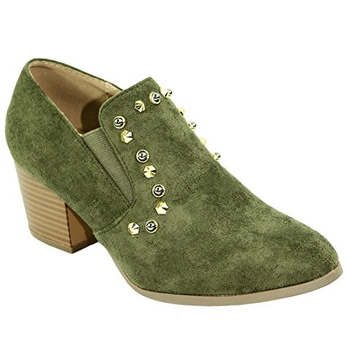 Best Caged Closed Toe Cute Olive Pumps for Women Platform Non Slip Gold Studded Faux Suede Comfy Fashion Fall 2018 Short Sexy Party Jeans Dress Shoe Clearance Sale Ladies Teen Girl (Size 7.5, Olive)