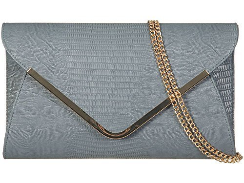 NEW RETRO NEON SNAKE SKIN WEDDING LADIES PARTY PROM EVENING CLUTCH HANDBAG PURSE Grey