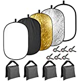 Neewer 5-in-1 31x47 inches/80x120 centimeters Lighting Reflector Disk(Translucent,Silver,Gold,White,Black) with 4-pack Sandbags(Black,Empty) and 6-Pack Backdrop Clamps for Photo Studio Photography