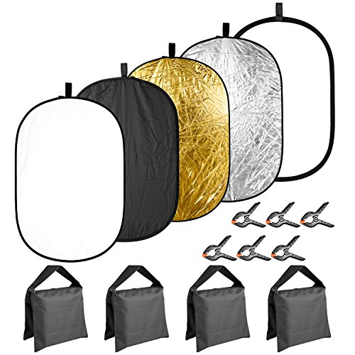 Neewer 5-in-1 31x47 inches/80x120 centimeters Lighting Reflector Disk(Translucent,Silver,Gold,White,Black) with 4-pack Sandbags(Black,Empty) and 6-Pack Backdrop Clamps for Photo Studio Photography by Neewer