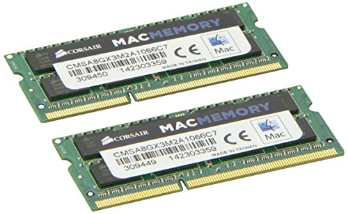 Corsair CMSA8GX3M2A1066C7 Apple 8 GB Dual Channel Kit DDR3 1066 (PC3 8500) 204-Pin DDR3 Laptop SO-DIMM Memory 1.5V (Sdram Dual Channel Memory)