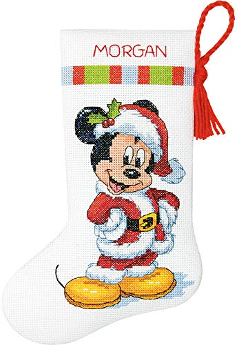 Dimensions Mickey Mouse Christmas Stocking Counted Cross Stitch Kit for Beginners, 14 Count White Aida Cloth, 10''L