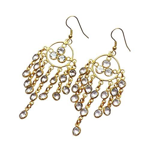 Dangling Quartz Earrings (Sitara Collections SC10331 Gold-Plated Brass Chandelier Earrings, Crystal Quartz)