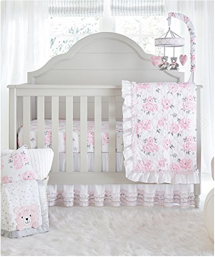 Wendy Bellissimo 4pc Nursery Bedding Baby Crib Bedding Set - Floral Crib bedding from the Savannah Collection in Grey and Pink