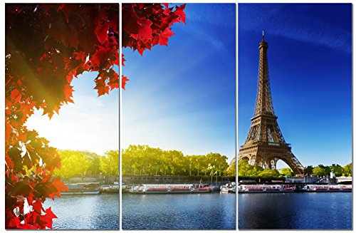 Canvas Art Tower (Canvas Wall Art Decor - 12x24 3 Piece Set (Total 24x36 inch) - Paris Eiffel Tower - Decorative & Modern Multi Panel Split Canvas Prints for Dining & Living Room, Kitchen, Bathroom, Bedroom & Office)
