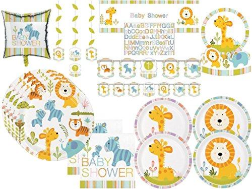 Baby Shower Happi Jungle Safari Lion, Giraffe, Turtle, Elephants Deluxe Party Tableware & Decorations Kit for 32 Guests -