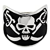 CloseoutWarehouse Pirates of the Fire Lake Skull Ring Sterling Silver 925 Size 17