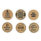 DII Novelty Printed Cork Beer Coasters - Set of 6
