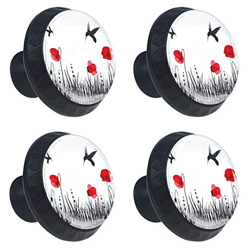 - Idealiy Red Poppies Hummingbirds Cabinet Dresser Drawer Knobs Glass Pull Handle for Cabinet Door Wardrobe Cupboard