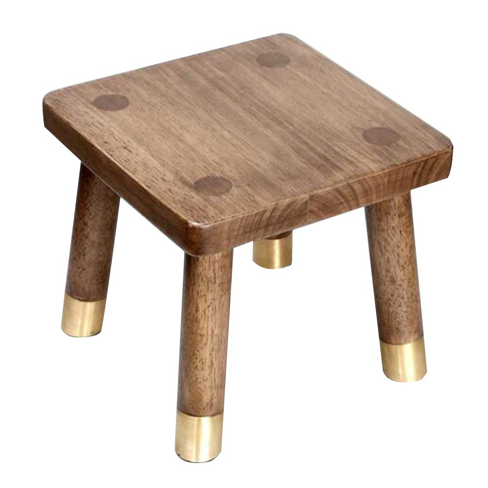 Brown 28X28CM AGLZWY Change shoes Bench Multipurpose Modern Solid Wood Frame Dressing Stool Coffee Table Living Room, Brown (Square, Round) (color   Brown, Size   28X28CM)