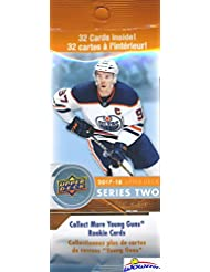 2017/18 Upper Deck Series 2 NHL Hockey HUGE Factory Sealed Jumbo FAT PACK with 32 Cards! Look for Young Gun Rookie Cards of Nico Hischier, Charlie McAvoy, Brock Boeser, Kailer Yamamoto & Many More!