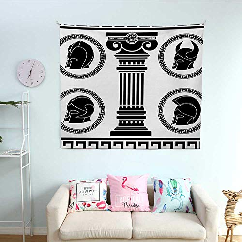 WilliamsDecor Toga Party Bedroom Tapestry Patterned Circular Frames with Antique Accessories Spartan Classic Costume Tapestry Throwing Blanket 39W x 39L InchBlack and White -