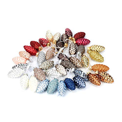 Mixed 13 Colors Set of 39 Small Pine Cone Glass Ornaments for Christmas Tree Decor, Wedding Event Centerpieces, Xmas Gifts for Friends- 39PCS/1