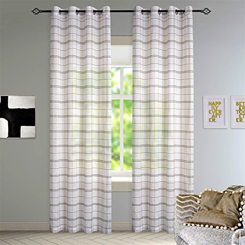 Check Linen (DEZENE Buffalo Check Sheer Curtains for Living Room Lattice Linen Look Grommet Curtains Set of 2 Panels 52 Inches Width x 96 Inches Long Black with Brown)