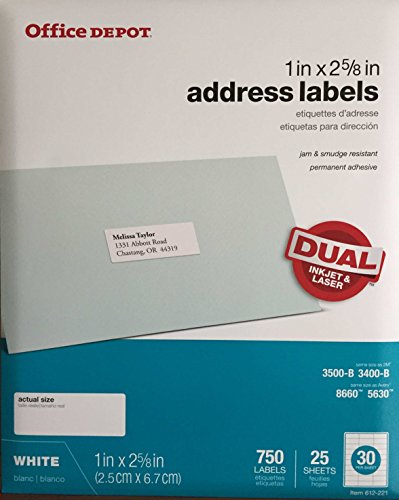 Office Depot White Inkjet/Laser Address Labels, 1in. x 2 5/8in, Pack of 750, 505-O004-0003