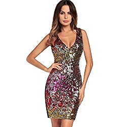 V Neck Sleeveless Red Sequin Bodycon Dress
