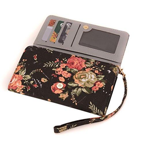 Conze moda teléfono celular Llevar bolsa pequeña con Cruz cuerpo correa para Samsung Galaxy Grand Duos/i9082 Black + Flower Black + Flower