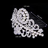 ROFIFY Vintage Pearl Wedding Tiara Crystal Rhinestones Comb Headband Princess Crown FJ07
