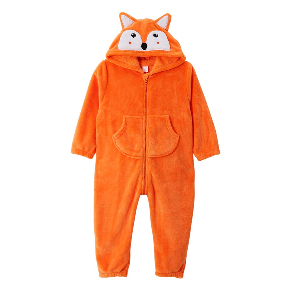 ZWZH Enfants Mignon voituretoon Fox Pyjama Combinaison Capuche Playsuit Animal Pyjamas HalFaibleeen Cosplay Costume Doux et Confortable,Orange,L