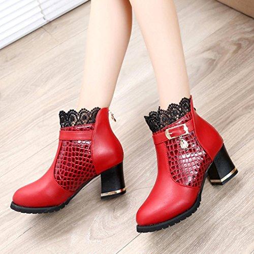 Reißverschluss Schnalle Spitze Stiefel HARRYSTORE Damen Dick Hacke Plattform Schuhe Reiten Knöchel Stiefel Rot